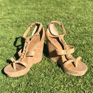 Cork wedge nude sandals | size: 9